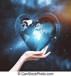 ons, planeet, in, jouw, handen, abstract, milieu, achtergronden