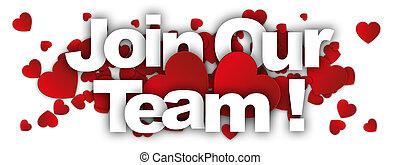ons, team, toevoegen, etiket