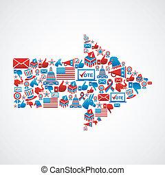 ons, verkiezingen, iconen, in, richtingwijzer, vorm