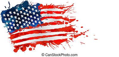 ons vlag, gemaakt, van, kleurrijke, plonsen
