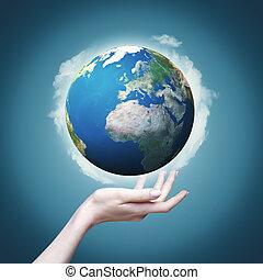 ons, wereld, in, ons, handen, abstract, eco, achtergronden, voor, jouw, ontwerp