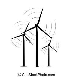 Onshore wind turbine towers renewable energy farm. Rotating...