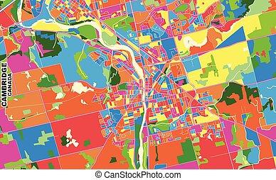 ontário, canadá, vetorial, cambridge, coloridos, mapa