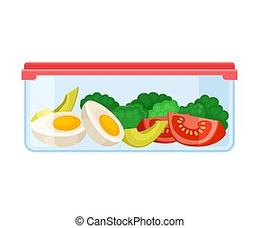 ontainer, lid., fatias, legumes, ilustração, experiência., vetorial, sob, branco vermelho