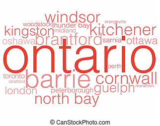 Ontario - A word cloud listing the major cities of Ontario.