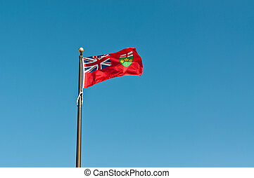 Ontario Flag Flying in the Breeze