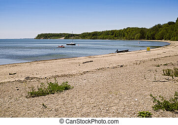 ontario, -, insjö, ryerse, erie, strand, hamn
