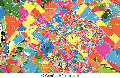 ontario, milton, kanada, vektor, färgrik, karta
