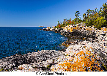 ontario, shoreline, északi, színpadi, sziget, kicsi