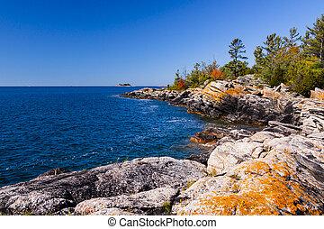 ontario, strandlinje, nordlig, scenisk, ö, liten