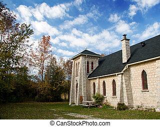 Ontario, vieux, communauté, église