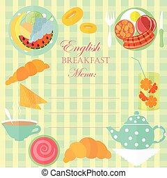 ontbijt, blad, engelse
