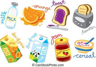 ontbijt, gekleurde, iconen