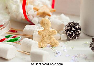 ontbijt, gezelligheid, morgen, feestdagen, en, winter, concept, -, cozy, venster, met, koffiekop, en, jaarwisseling, en, kerstmis, zoetigheden