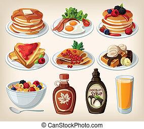 ontbijt, set, spotprent, classieke