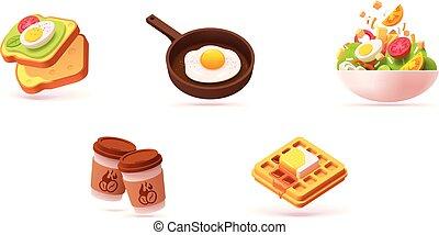 ontbijt, vector, set, pictogram