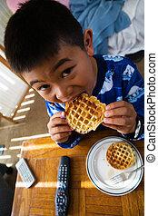 ontbijt, waffles