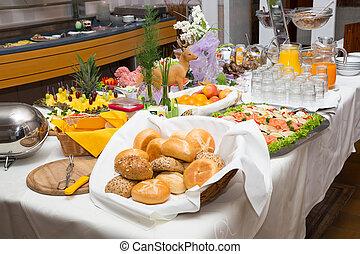 ontbijtbuffet, op, een, restaurant, of, hotel