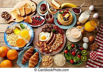 ontbijtbuffet, volle, continentaal, en, engelse