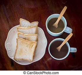 ontbijten tijdstip, met, twee, koffie, en, brood