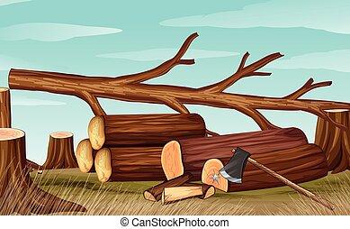 ontbossing, firewoods, scène, bijl
