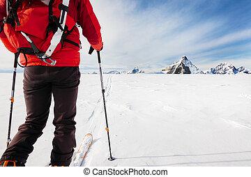 ontdekkingsreis, bergbeklimmer, gletsjer, ski's, high-alti, gedurende