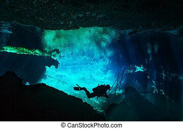 ontdekkingsreis, onderwater, azul, cenote, wereld, duiker