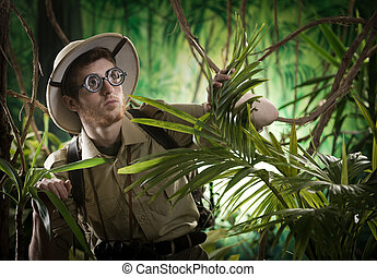ontdekkingsreiziger, jungle, verloren, jonge