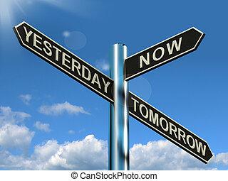 ontem, agora, amanhã, signpost, mostra, programa, diário,...