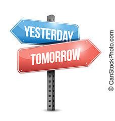 ontem, amanhã, sinal, ilustração, desenho