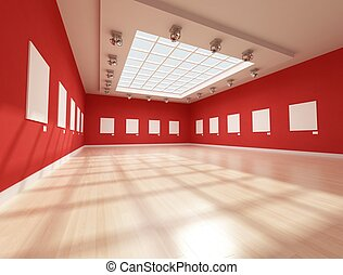 ontemporary art gallery with blank canvas - rendering