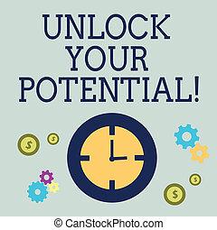 onthullen, concept, talent, vaardigheden, tekst, potential., ontsluiten, jouw, betekenis, zeug, abilities., handschrift