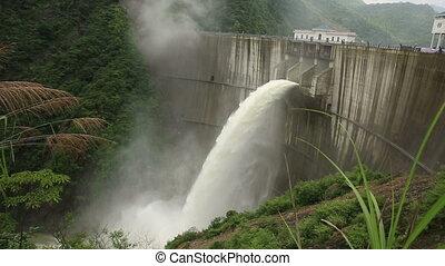 ontlading, overstroming, china, water, dam