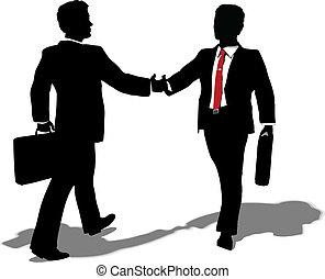 ontmoeten, maken, delen, zakenlui
