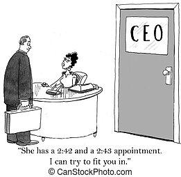 ontmoeten, weinig; niet zo(veel), tijd, heeft, baas