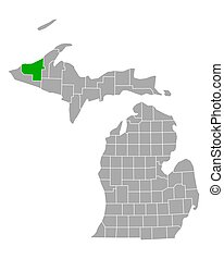 ontonagon, mapa de michigan
