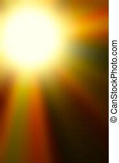 ontploffing, kleurrijk licht, abstract, versie, sinaasappel