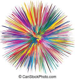 ontploffing, kleurrijke