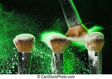 ontploffing, mineraal, makeup, groene, poeder, achtergrond, black , borstel