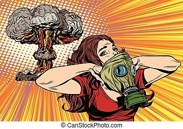 ontploffing, nucleair, gasmasker, gevaar, meisje, straling