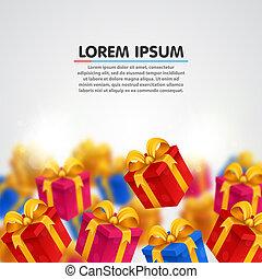 ontploffing, van, geschenken., licht, achtergrond, met, kado, boxes.