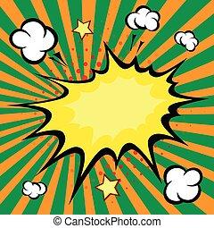 """ontploffing, vector, illustratie, boek, """"boom"""", komisch"""