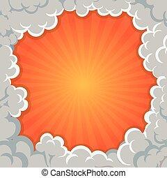 ontploffing, wolken, achtergrond, frame, illustratie, vector, rook, spotprent