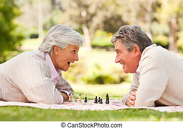 ontslag nam koppel, spelend schaakspel