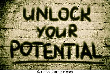 ontsluiten, concept, potentieel, jouw