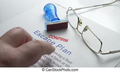 ontsnapping, plan, noodgeval, bevestigen