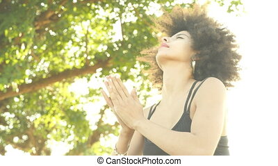 ontspannen, buiten, yoga houding, vrouw