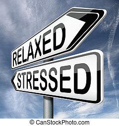 ontspannen, of, beklemtoonde