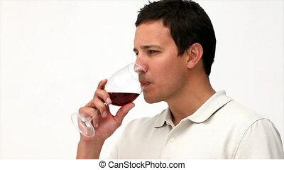 ontspannen, wijntje, man, rood, drinkt