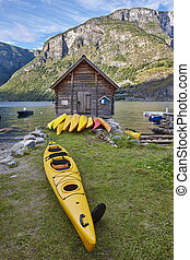 ontspanning, canoeing, norway., houten, fjord, cabin., landscape